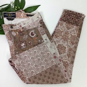 Lucky Brand Charlie Skinny Floral Patchwork Jeans